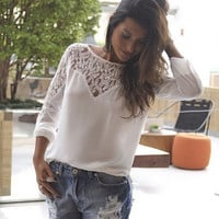 Long Sleeve Lace Patchwork Chiffon Shirt in White