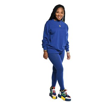 Casual Two Piece Set Women Tracksuit O-neck Shirt Top + Long Pants Clothes For Women Sportsuit Solid Color Outfit