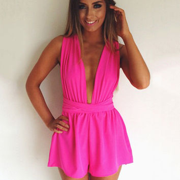 Sleeveless Deep V-neck Backless Ruched Pleated Romper