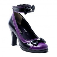 Demonia Lolita Style Glam 40 Black and purple Shoe with Ankle Straps