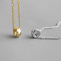 18K Gold Plated S925 Sterling Silver Pendant Necklace Minimalist Jewelry