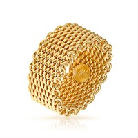 Bling Jewelry Gold Mesh Chain Ring