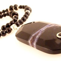 Black Druzy Gemstone Pendant Necklace with Onyx Beads Sterling Wire Wrapped