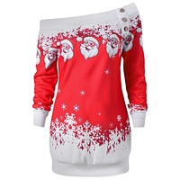 gamiss Graphic tops Santa Claus Snowflake Skew Neck Pullover Christmas Sweatshirt Jumper Outerwear Autumn Women Button Tops