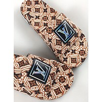 Louis Vuitton LV new couple models full-print color-blocking letters home sandals slippers Brown 1