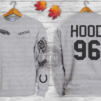 Calum Hood Tattoos 5SOS Sweatshirt ADD HOOD 96 screen print front and back Crewneck Sweater and Hoodie sleeve Jumper in Grey White