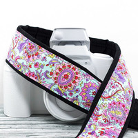 Aqua Paisley dSLR Camera Strap, Fits dSLR SLR and Mirrorless cameras, Replacement strap Canon Nikon, 108 w