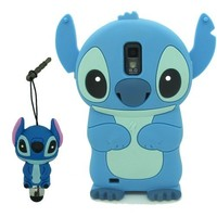 DD(TM) 3D Cartoon Cute Super Adorable Blue Stitch Lilo Design Pattern Soft Silicone Back Case Cover Protective Skin + 3D Stitch Stylus Touch Pen for Samsung Galaxy S2 SII EPic Touch 4G D710 T-Mobile SGH-T989 Sprint (Not For AT&T)