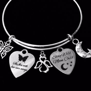 Stay Wild Moon Child She Flies With Her Own Wings Adjustable Charm Bracelet Expandable Silver Bangle One Size Fits All Gift Angel Butterfly
