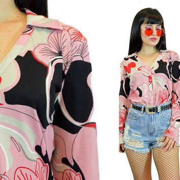 vintage 90s does 70s pink shirt pastel grunge clueless style button up blouse geometric psychedelic print cyber grunge kawaii Cute small