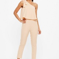 Missguided - Nude One Shoulder Bow Jumpsuit