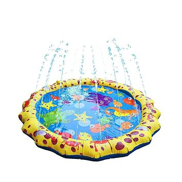 "Megartico Splash Pad, 44"" Sprinkler Play Mat for Kids Toddler Fun Inflatable Splash Play Mat Summer Outdoor Wading Pool Party Water Toys for Baby Infant Boys Girls Yellow"