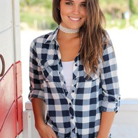 Navy and Ivory Plaid Top