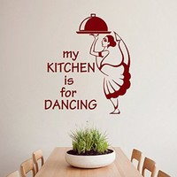 Wall Decals Quote My Kitching Is for Dancing Girl with Dish Dance Chef Cook Cooking Vinyl Decal Sticker Living Room Decor Home Interior Design Art Murals