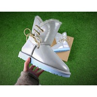 UGG Waterproof Antifouling Fabric Butterfly Lace Silver Snow Boots