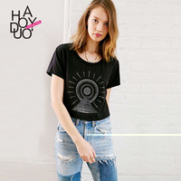 Haoduoyi Womens 2016 Summer 3D Print Femme T-shirt  femininas basic short sleeve Casual slim brand tops plus size