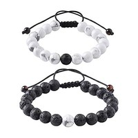 Distance Relationship Bracelet for Lover-2pcs Black Lava Rock & White Howlite Stone 8mm Beads (Braided)
