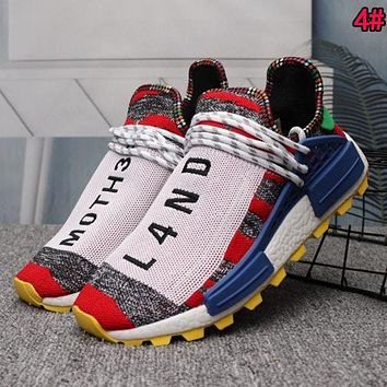 Hipgirls Adidas Human Race NMD Trending Woman Men Casual Sport Running Shoes Sneakers 4# Red I/A