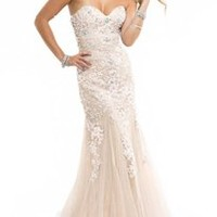 Miranda Ivory Evening Prom Ball Dress Strapless Long Lace Appliques Gown Size 4-14 (14)