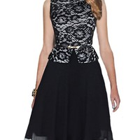 Exquisite Round Neck Lace Patchwork Skater-dress
