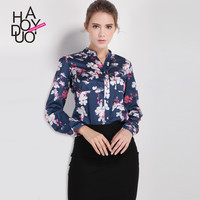 Haoduoyi Womens Floral Print Office Ladies Blouse Casual Long Sleeve Buttons Down Stand Collar Femininas Tops Tees