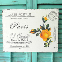 Yellow Roses Flowers Wood Sign Wall Plaque French Provincial Paris Script Cottage Chic Bed Bath Kitchen Decor Wall Hanging