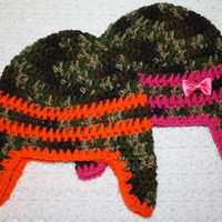 Orange or Pink camouflage Beanie with Earflaps NB, 0-3 mo or 3-6 mo 6-12 mo 12-18 mo Baby Shower Gift, Infant, Perfect Photo Prop