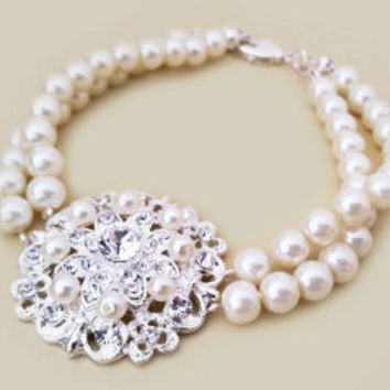 Crystal and Pearl Bracelet, Wedding Jewellery Designs for Bride