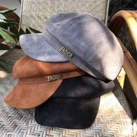 Dior Autumn Winter Women Simple All-match Suede Letter Flat Cap Bowler hat