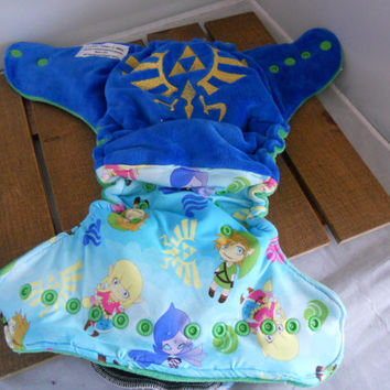 Zelda Inspired Cloth Diaper! Hylian Crest Embroidery! Hybrid Cloth Diaper! Link! Cloth Diapers! AIO, pockets, AI2 and Covers!