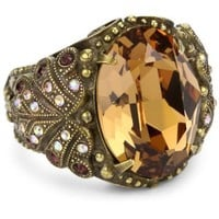 """Sorrelli """"Tapestry"""" Bold Crystal Vintage Inspired Gold-Tone Ring - designer shoes, handbags, jewelry, watches, and fashion accessories 