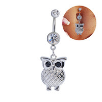 Stainless Steel Owl Piercing Belly Button Navel Ring