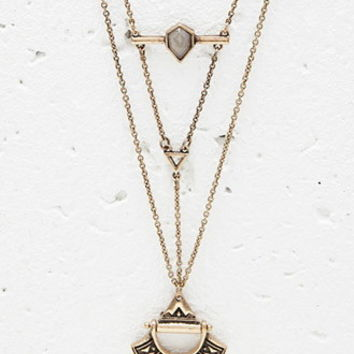 Layered Etched Pendant Necklace