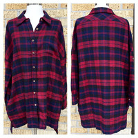 A Boyfriend Flannel Tunic in Red