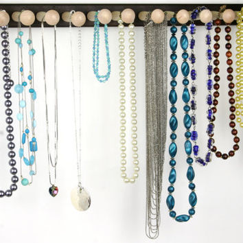 """Long Necklace Holder - Jewelry Display Bar, Wall Mount, Wood, Peruvian Walnut.  20"""", 14 Long Pegs. Hanging Necklace Rack."""