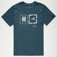Rvca Target Boxes Mens T-Shirt Heather Navy  In Sizes