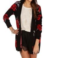 BlkRdGry Floral Open Cardigan