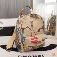 8190 Fashion Casual Fashion doodle pattern silk cotton cloth with gold metal Backpack