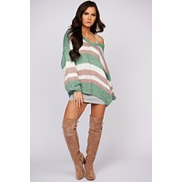 All The Answers Striped Sweater (Sage/Mauve)