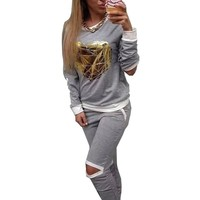 Gold Heart Hollow Out Lady Tracksuit Sweatshirt + Pant