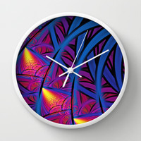 Under The Blue Palm Wall Clock by Lyle Hatch