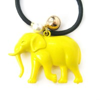 Large Elephant Pendant Hair Tie Pony Tail Holder in Bright Yellow | DOTOLY
