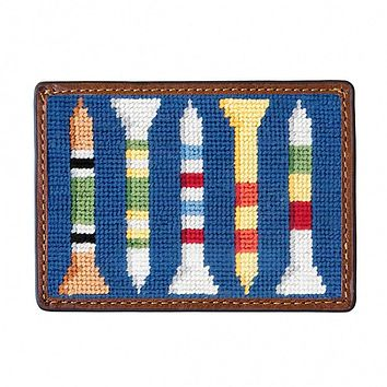 Golf Tees Needlepoint Credit Card Wallet by Smathers & Branson