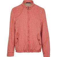 River Island MensRed washed denim zip up jacket
