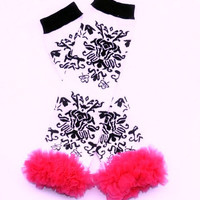 Black Damask Leg Warmers
