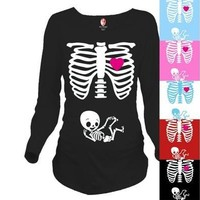New Fashion Maternity Pregnancy Funny Xray Skeleton Bany Print Clothes for Pregnant Women Maternity T-Shirt [8833377548]