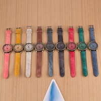 The new jeans canvas imitation grain steel table at the end of Europe and the United States linen canvas strap watch watch multicolor leather = 5987805953