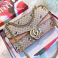 GUCCI & Disney Fashion new more letter mouse print leather chain shoulder bag handbag crossbody bag