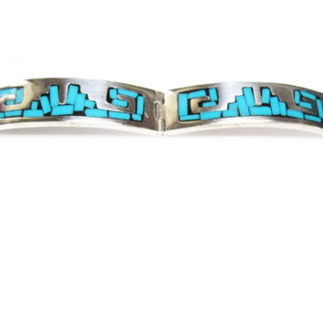 Mexican Turquoise Inlay Hinged Bracelet