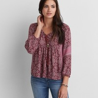 AEO PATTERNED PEASANT TOP